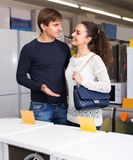 Couple at household appliances section Royalty Free Stock Photo