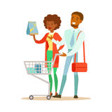 Couple With Household Chemisry Cart Shopping In Department Store ,Cartoon Character Buying Things In The Shop Royalty Free Stock Photos