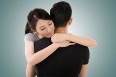 Couple hug and comfort. Asian young couple hug and comfort, closeup portrait stock photos