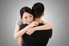 Couple hug and comfort. Asian young couple hug and comfort, closeup portrait Royalty Free Stock Photo