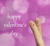 Couple hug of happy fingers smileys with love Stock Photos