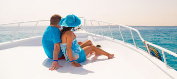 Couple in hug relaxing on the cruise Stock Image