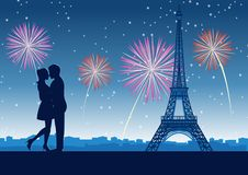 Couple hug together around with skyscraper near Eiffel tower in Paris at celebration night,silhouette style. Vector illustration stock illustration