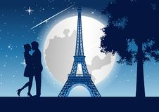 Couple hug together around with skyscraper near tree and Eiffel tower in Paris at night,silhouette style. Vector illustration royalty free illustration