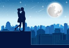 Couple hug together near tower roof top around with skyscraper,silhouette style royalty free illustration