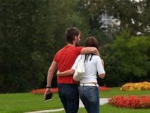 Couple / Hug Walk Royalty Free Stock Images