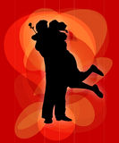 Couple hugging. Silhouettes of a woman and a man hugging royalty free illustration