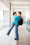 Couple hugging at airport Royalty Free Stock Photo