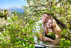Couple Hugging Around Bloomy Trees Stock Photo