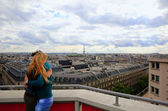 Couple hugging on background Paris stock photo