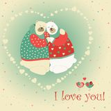 Couple of hugging bears. Vector romantic greeting card Stock Photos