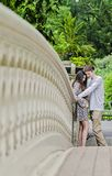 Couple hugging in Central Park in New York City. Couple holding hands face to face on Bow Bridge in Central park in New York City stock images