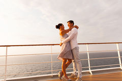 Couple hugging on cruise Royalty Free Stock Image