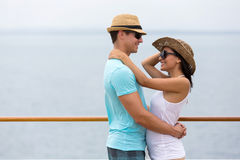 Couple hugging cruise ship Stock Image