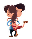 Couple hugging each other  illustration cartoon character Royalty Free Stock Photos