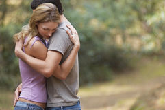 Couple Hugging In Forest Royalty Free Stock Images
