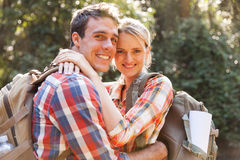 Couple hugging forest Royalty Free Stock Photo