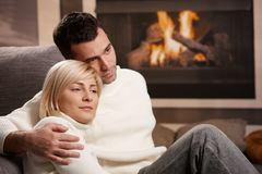 Couple hugging home Royalty Free Stock Images