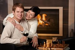 Couple hugging at home Stock Photography
