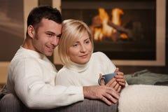 Couple hugging home Stock Image