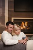 Couple hugging home Royalty Free Stock Photos