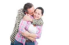 Couple hugging and kissing with affection Royalty Free Stock Images