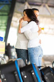 Couple hugging parting airport royalty free stock image