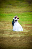 Couple hugging passionately on green lawn Stock Photo