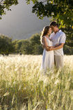 Couple hugging in rural field royalty free stock photography