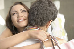 Couple Hugging Shopping Stock Photography