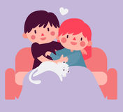 Couple Hugging on Sofa with Cat Stock Images