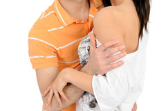 Couple hugging and touching each other Stock Images