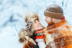 Couple hugging in winter Royalty Free Stock Photography