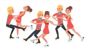 Couple With Ice Skaters Vector. Training Ice Show. Boy And Girl In Pair. Cartoon Character Illustration royalty free illustration
