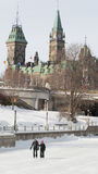 Couple ice skating on the frozen Rideau Canal Ottawa Winterlude Royalty Free Stock Photos