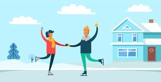 Couple Ice-skating in Winter Vector Illustration. Couple ice-skating in winter, happy people dancing on ice, building with wreath on door, clouds in sky and Royalty Free Stock Photos