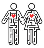 Couple icon as Maze of love. Maze shaped as heterosexual couple pictogram symbolizing searching for love. Vector illustration Stock Photo