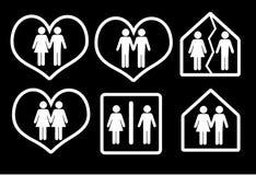Couple icon. On black background Stock Photo