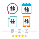 Couple icon. Young family symbol. Stock Images