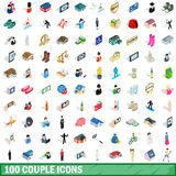 100 couple icons set, isometric 3d style. 100 couple icons set in isometric 3d style for any design vector illustration royalty free illustration