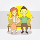 Couple. Illustration for happy Asian couple Royalty Free Stock Photography