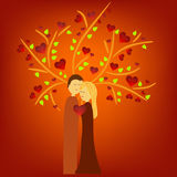Couple illustration under tree Royalty Free Stock Photos
