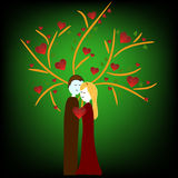 Couple illustration under tree Royalty Free Stock Images