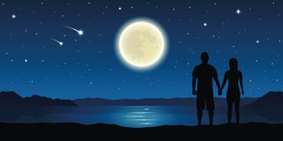 Free Couple In Love At The Lake With Full Moon And Falling Stars Stock Image - 151486931
