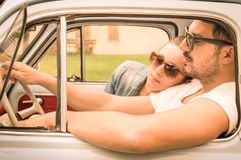 Free Couple In Love Having A Rest During Honeymoon Vintage Car Trip Royalty Free Stock Photo - 51282375