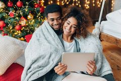 Free Couple In Love Making Video Call On A Tablet Stock Photography - 160047212