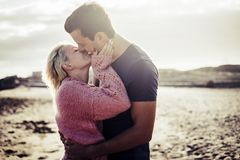 Free Couple In Love Outdoor On The Beach During Vacation In Tenerife Stock Image - 141288801