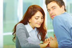 Couple In Love Stands Hand In Hand Stock Photos