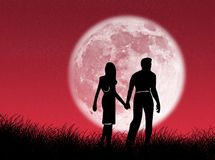 Couple In The Moon Stock Photos