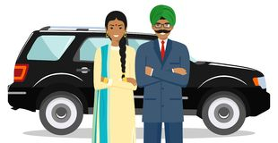Business concept. Couple of indian businessman and businesswoman standing together near the car on white background in royalty free stock image